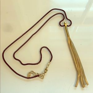 Black necklace long With gold detail